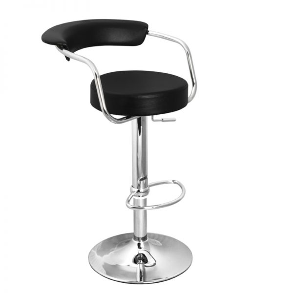 Berty Cushioned Adjustable Bar Stool - Black