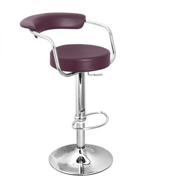Berty Cushioned Adjustable Bar Stool - Purple