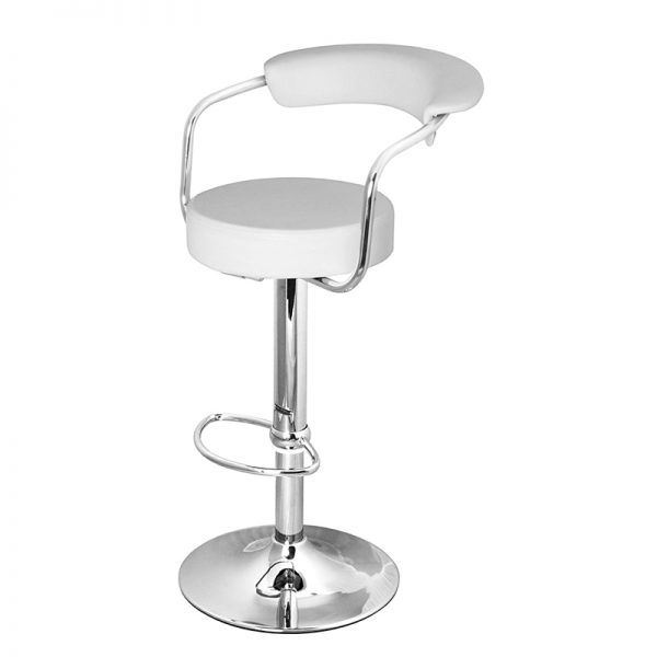 Berty Cushioned Adjustable Bar Stool - White