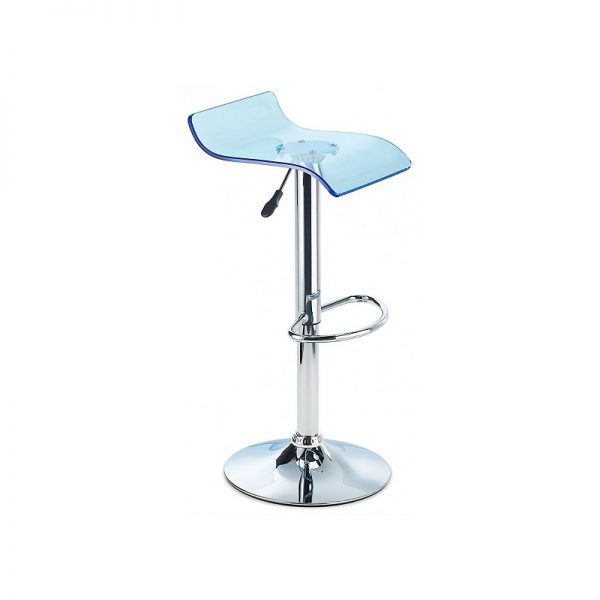 CT3 Transluscent Perspex Adjustable Kitchen Bar Stool - Blue