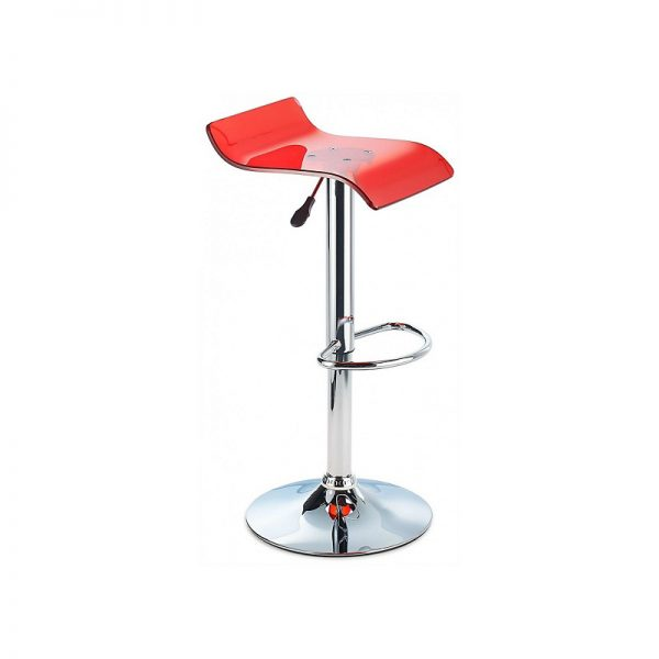 CT3 Transluscent Perspex Adjustable Kitchen Bar Stool - Red