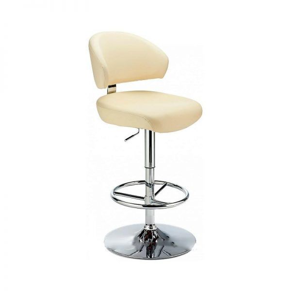 Monarch Padded Seat Adjustable Kitchen Bar Stool - Cream - Brushed Stainless Steel