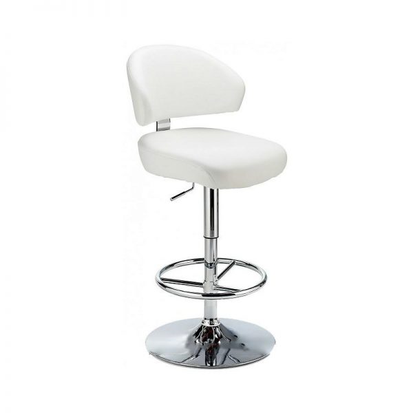 Monarch Padded Seat Adjustable Kitchen Bar Stool - White - Brushed Stainless Steel