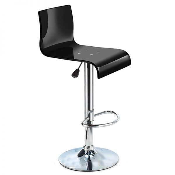 Snazzy Adjustable Acrylic Kitchen Bar Stool - Black