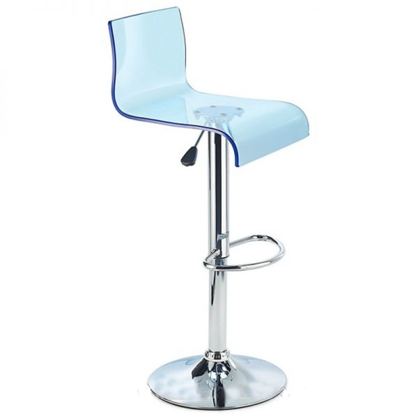 Snazzy Adjustable Acrylic Kitchen Bar Stool - Blue