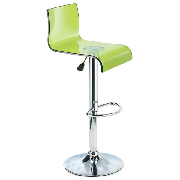 Snazzy Adjustable Acrylic Kitchen Bar Stool - Green