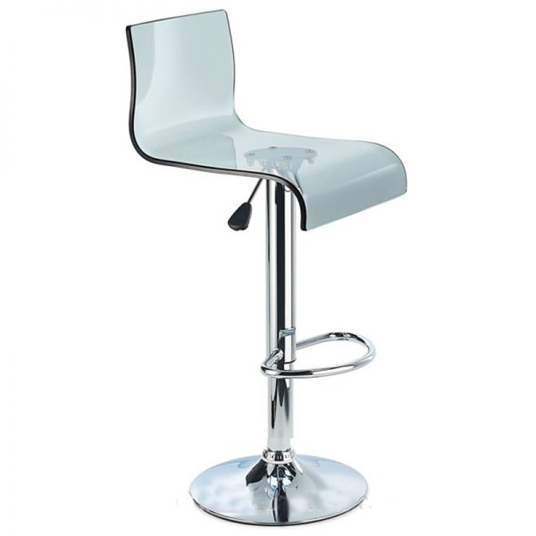 Snazzy Adjustable Acrylic Kitchen Bar Stool - Smoked