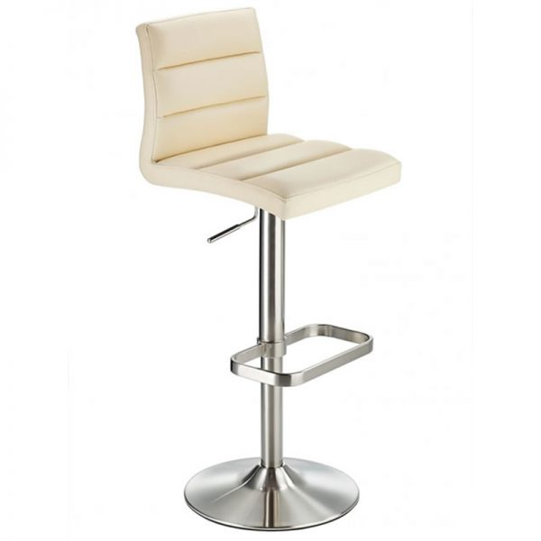Swank Adjustable Padded Fabric Kitchen Bar Stool - Cream