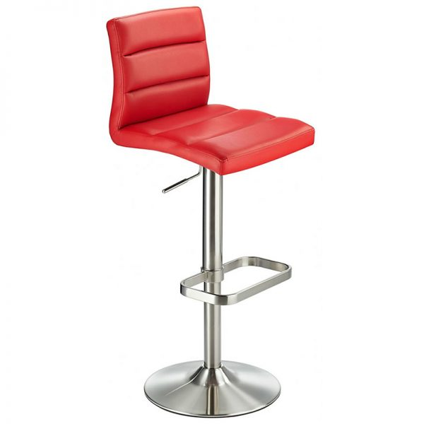 Swank Adjustable Padded Fabric Kitchen Bar Stool - Red