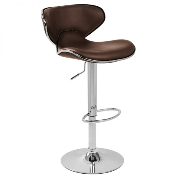 Wallon Adjustable Padded Bar Stool - Brown