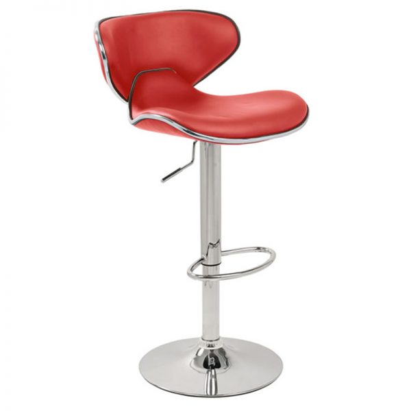 Wallon Adjustable Padded Bar Stool - Red