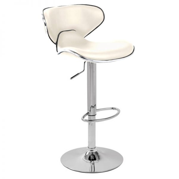 Wallon Adjustable Padded Bar Stool - White