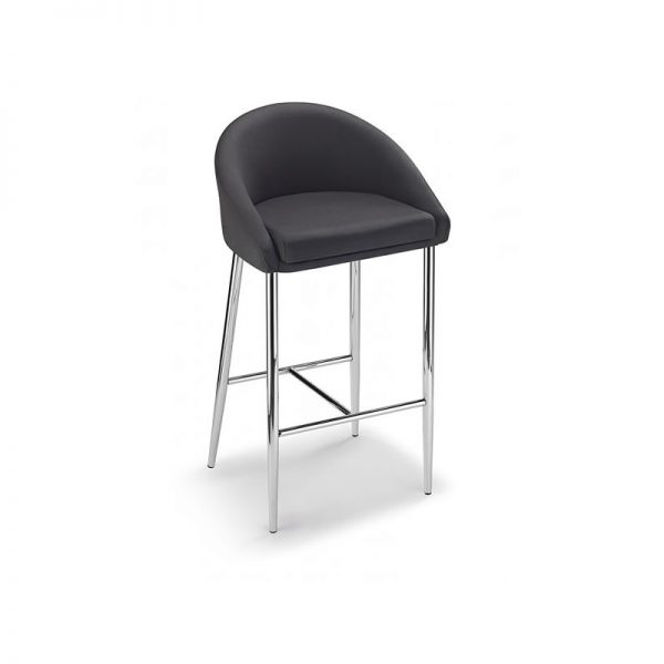 Cayfon Padded Fabric Kitchen Bar Stool - Black