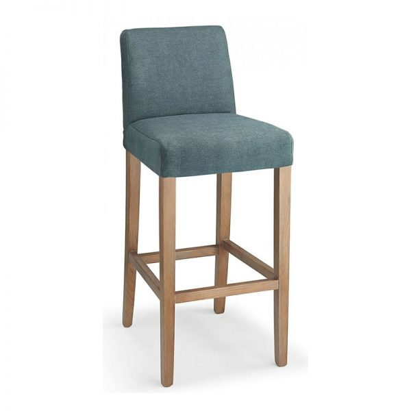 Faroni Fabric and Wood Kitchen Bar Stool - Blue