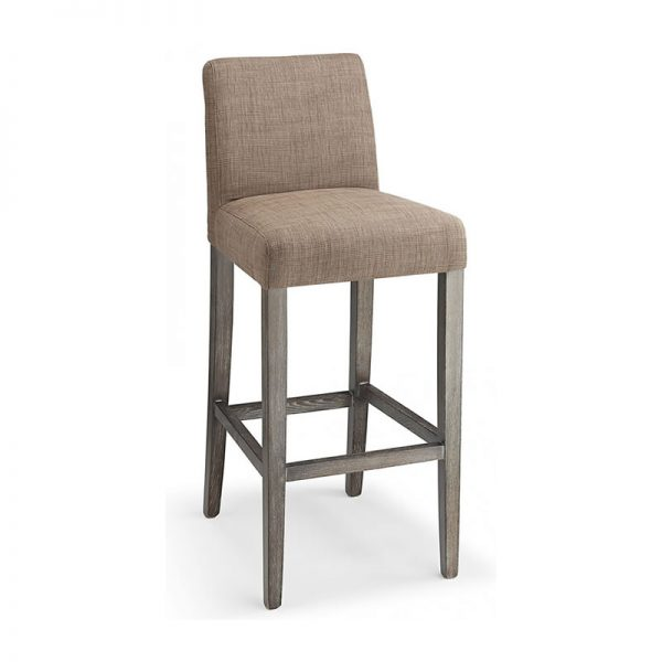 Faroni Fabric and Wood Kitchen Bar Stool - Brown