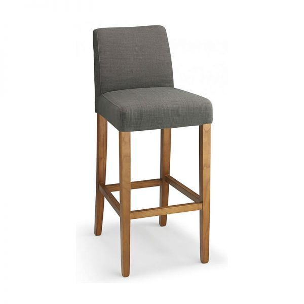 Faroni Fabric and Wood Kitchen Bar Stool - Grey