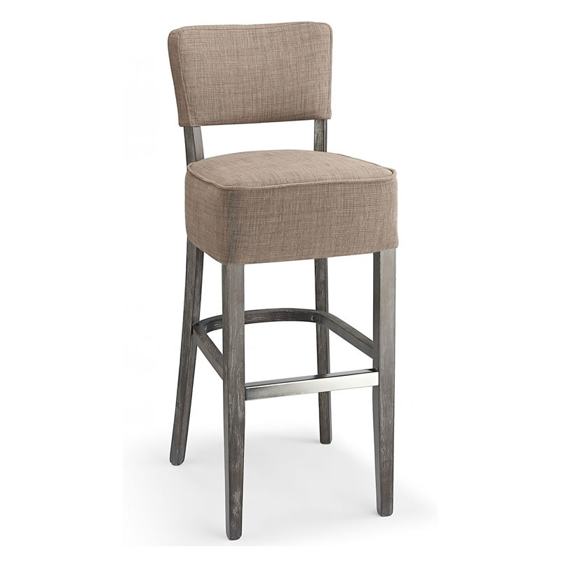 Gosost Fabric and Wood Kitchen Bar Stool - Brown