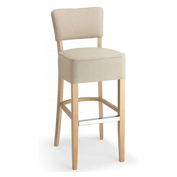 Gosost Fabric and Wood Kitchen Bar Stool - Cream