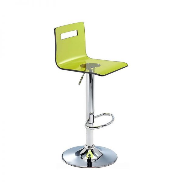 Tower Transparent Acrylic Adjustable Kitchen Bar Stool - Green