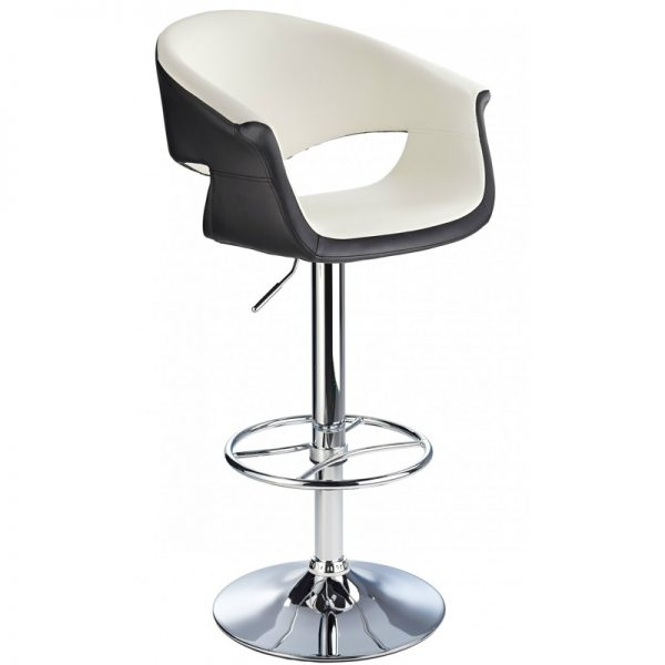 Apene Height Adjustable Bar Stool with Padded Back - Cream