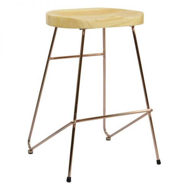 Elson Copper Industrial Fixed Height Bar Stool