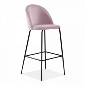 Aether Fixed Height Velvet Bar Stool - Blossom Pink/Black
