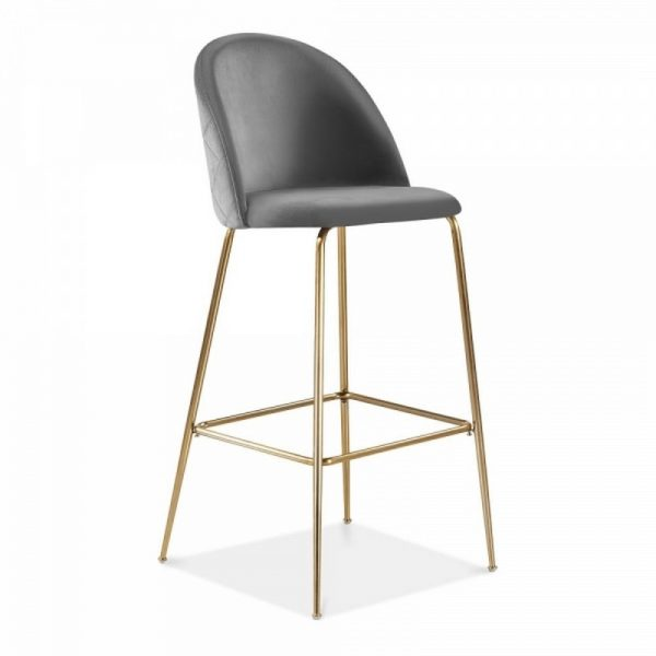 Aether Fixed Height Velvet Bar Stool - Charcoal Grey/Brass