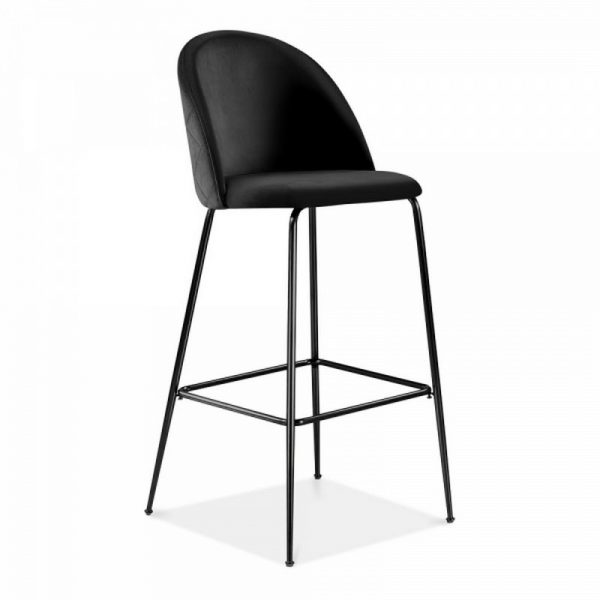 Aether Fixed Height Velvet Bar Stool - Onyx Black