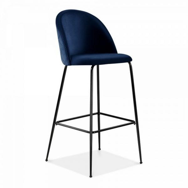 Aether Fixed Height Velvet Bar Stool - Royal Blue