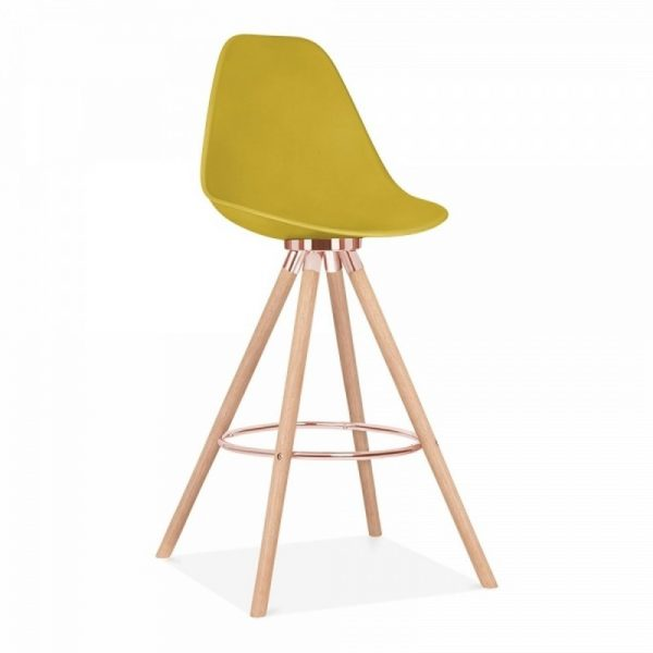 Tidal Fixed Height Bar Chair With Backrest CD2 - Mustard