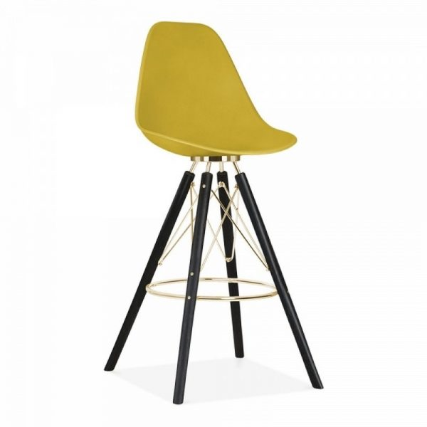Tidal Fixed Height Bar Chair With Backrest CD3 - Mustard