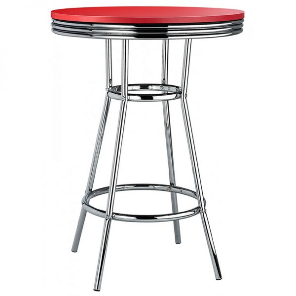 New Orleans Tall Retro Poseur Bar Table - Red