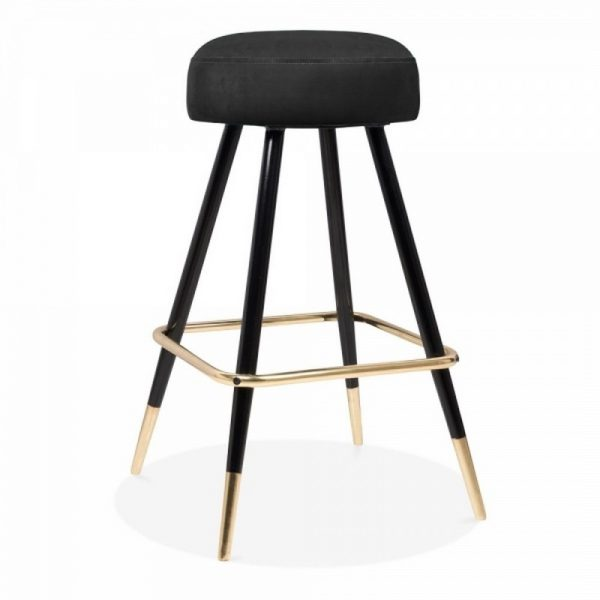Nicci Upholstered Velvet Bar Stool - Onyx Black
