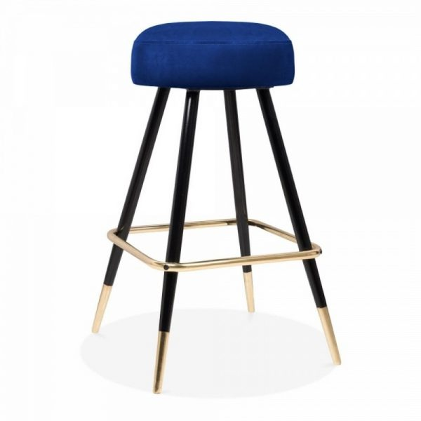 Nicci Upholstered Velvet Bar Stool - Royal Blue