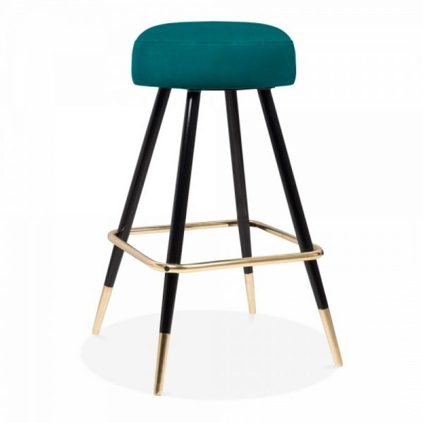Nicci Upholstered Velvet Bar Stool - Forest Green