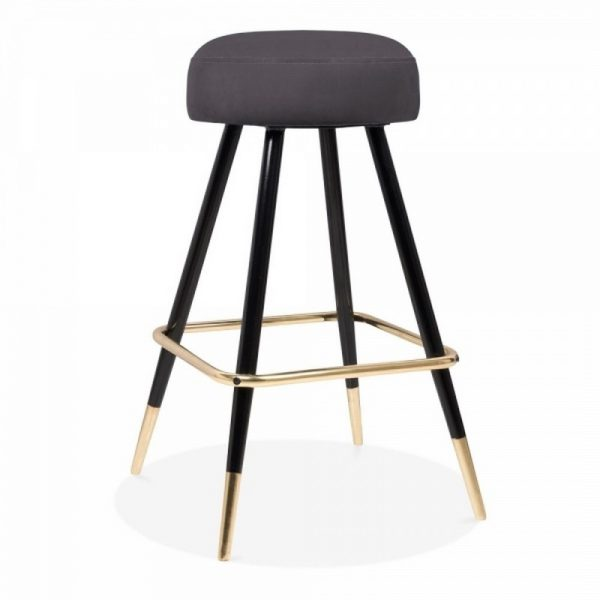 Nicci Upholstered Velvet Bar Stool - Charcoal Grey