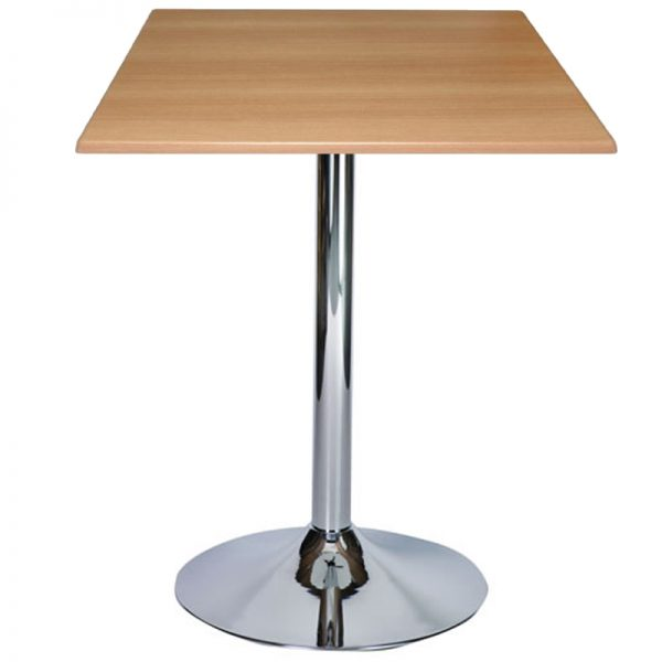 Ramizon Chrome Square Bar Poseur Table - Beech