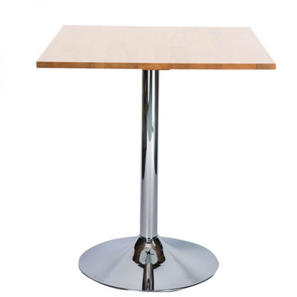Ramizon Chrome Square Bar Poseur Table - Oak
