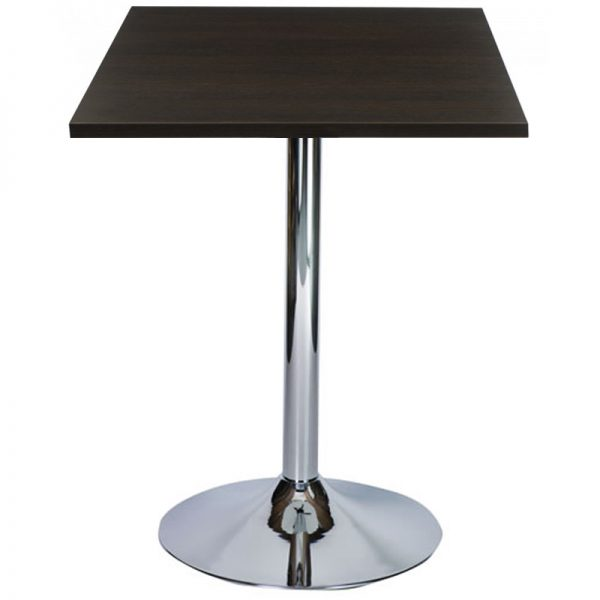 Ramizon Chrome Square Bar Poseur Table - Wenge