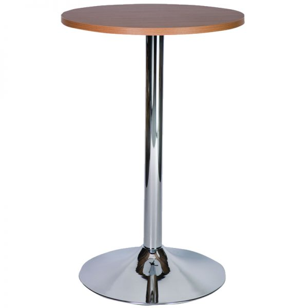 Ramizon Chrome Round Bar Poseur Table - Walnut