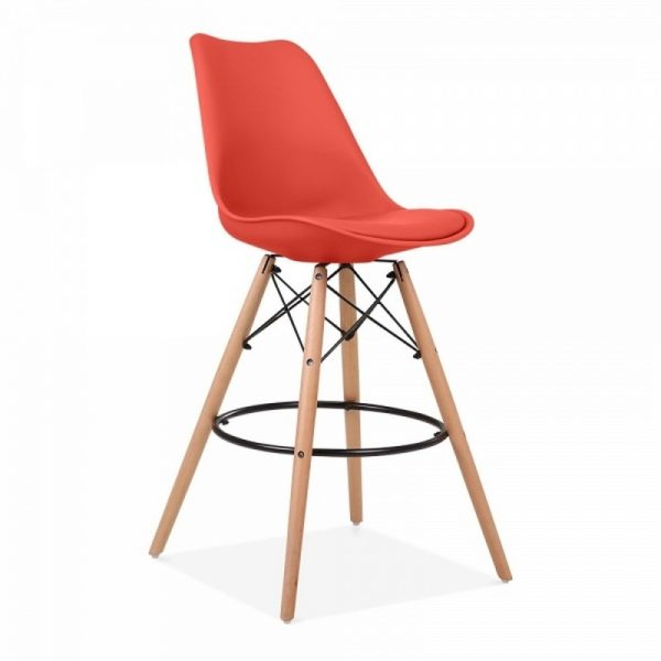 Dawson Fixed Height Plastic Bar Stool - Marine Red