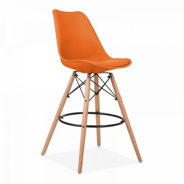 Dawson Fixed Height Plastic Bar Stool - Orange