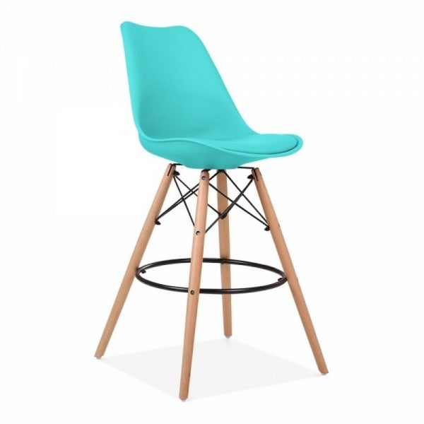 Dawson Fixed Height Plastic Bar Stool - Turquoise
