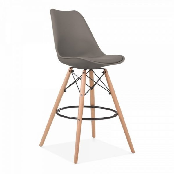 Dawson Fixed Height Plastic Bar Stool - Warm Grey