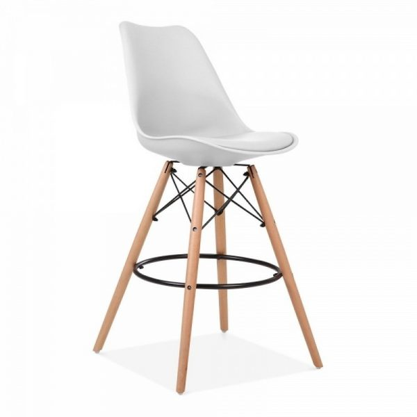 Dawson Fixed Height Plastic Bar Stool - White