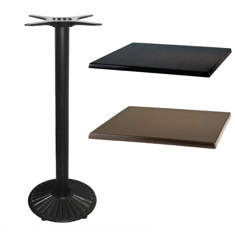 Tesin Poseur Bar Table Base with Square Table Top