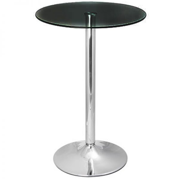 Vetor Chrome Round Poseur Bar Table - Black