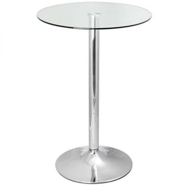 Vetor Chrome Round Poseur Bar Table - Clear