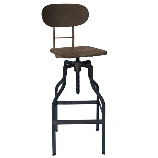 Zapopi Industrial Adjustable Kitchen Bar Stool - Brown