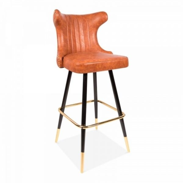 Tinder Upholstered Faux Leather Wooden Bar Stool - Tan